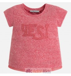 "Camiseta m/c bordado ""yes""  Carmin"
