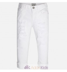 Pantalon pirata sarga strass  Blanco