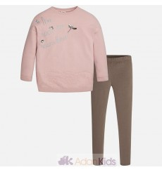 Conj. leggings encaje Cafe