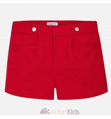 Short popelin satinado Rojo