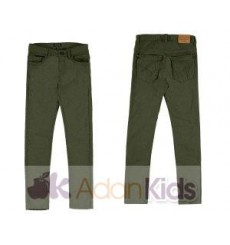 Pantalon sarga slim fit basic Loden