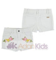 Short sarga bordado Blanco