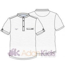 Camiseta m/c cuello mao Blanco