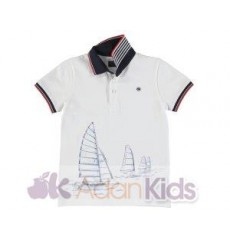 Polo m/c estampado nautico Blanco