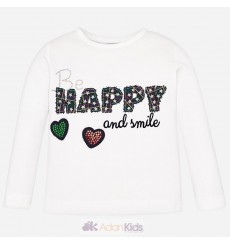 "Camiseta m/l ""happy"" Crudo"