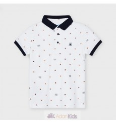 Polo m/c estampado Blanco Ref. 3106